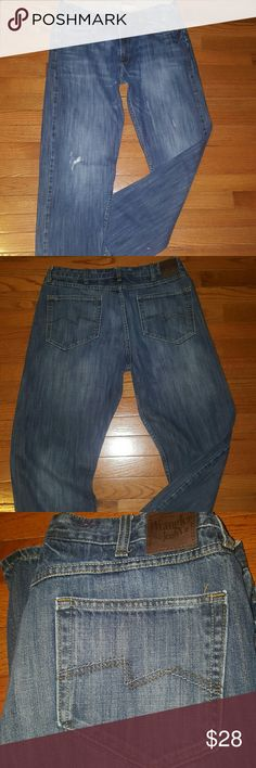 Wrangler Jeans Men's 38x32 These are in EXCELLENT CONDITION, my fiance' never wore. SIZE 38X32 From a pet and smoke-free home.  If you have any questions please comment below as I usually respond within 24hrs or less.  Thanks for looking & feel free to stop by my closet anytime 😉 HAPPY POSHING 🌻🌻🌻 Wrangler Jeans