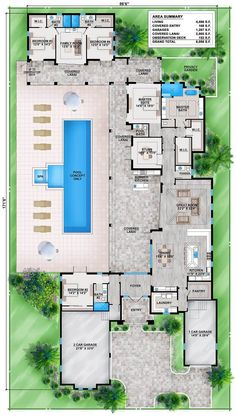 Florida House Plan with Guest Wing Tuscan, Luxury, Floor Master Suite, Butler Walk-in Pantry, Split Bedrooms Florida House Plans, Pool House Plans, Dream House Plans, Modern House Plans, Florida Home, Florida Style, U Shaped House Plans, House Design Plans, One Level House Plans