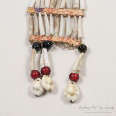 Sioux Dentalium Shell Earrings detail - Arthur W. Erickson - 3