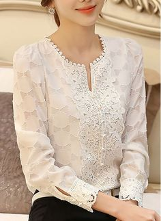 Shop Floryday for affordable Blouses. Floryday offers latest ladies' Blouses collections to fit every occasion. Kurti Styles, Blouse Styles, Blouse Designs, Court Outfit, Trendy Tops, Blouses For Women, Casual Outfits, Led, Womens Fashion