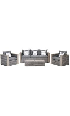 Atlantic 5-Piece Mustang Wicker Conversation Set with Grey Cushions Best Price