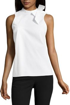 Worthington Sleeveless Bow Blouse- This is a cut I usually wear. Bow Blouse, Sleeveless Blouse, Liz Claiborne, White Tops, Pullover Sweaters, What To Wear, Athletic Tank Tops, Feminine, My Style