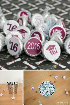 Celebrating the Class of 2016 with Maroon Graduation Stickers for Hershey Kisses. (Class of 2017 Now Also Available)!