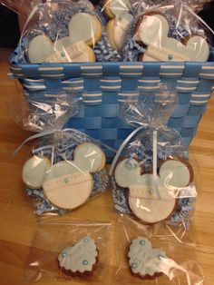 Baby Mickey Mouse cookies for baby shower ~ baby blue