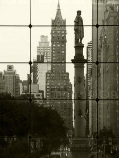 New York City, Manhattan, Statue of Christopher Columbus in Columbus Circle Viewed Through a Glass Photographic Print by Gavin Hellier at Art.com