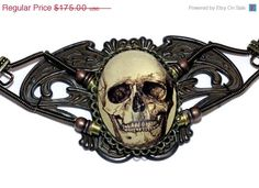 Steampunk Goth Jewelry - Necklace - Antique Skull Cameo. $169.00, via Etsy.