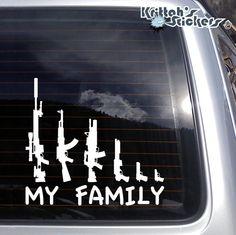 My Gun Family Vinyl Decal 7 x 6.5 inches K394 by KrittahStickers, $3.49
