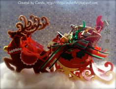 Sleigh ride favour box/table centre-piece created using Brenda Walton Sleigh and reindeer dies