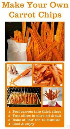 Carrot Fries Here's one other recipe I think will be good! Cut a bag of carrots to the size of string fries.  In a bowl add cut carrots, fresh garlic, lots of parmesan cheese, olive oil, Italian bread crumbs, salt & pepper. All ingredients add the amount to your personal taste.  Place on a cookie sheet spread carrots evenly place in oven at 325 for about 45 min