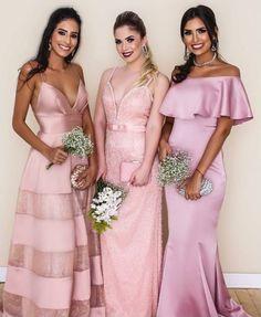 Vestido de festa rosa para madrinha, madrinhas usando vestido rosa.