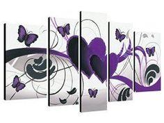 Purple wall art is funky, cute and currently trendy. You can see how popular purple home wall art décor is on home décor shows on TV, Online and even in your own community. Additionally purple wall art is truly charming and pretty. #purple    Wieco Art - Purple Love Butterfly 5 Panels - purple Modern wall art