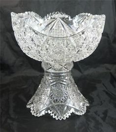 Antique American Brilliant Period ABP Cut Glass Punch Bowl & Stand GREAT SIZE