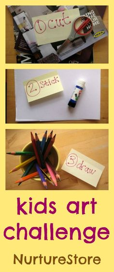 For a fun kids art idea that gets your imagination firing, take the Cut :: Stick :: Draw challenge!