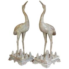 Pair of Chinese Cast Bronze, Etched, Handcrafted Cranes, 1890   From a unique collection of antique and modern metalwork at https://www.1stdibs.com/furniture/asian-art-furniture/metalwork/