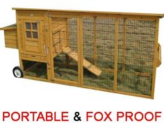 Buckingham on wheels- Portable 8ft - Fox proof chicken coop 3mm wire