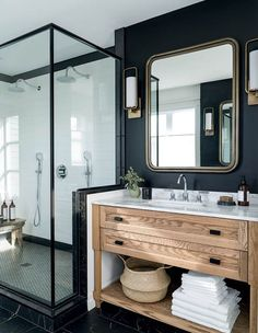 Modern bathroom with dark walls - natural wooden vanity - modern . - Modern bathroom with dark walls – natural wooden vanity – modern farmhouse – - Bad Inspiration, Bathroom Inspiration, Bathroom Renos, Bathroom Interior, Bathroom Ideas, Bathroom Designs, Bathroom Vanities, Bathroom Remodeling, Bathroom Stuff