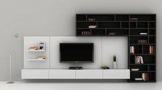 TV på vegg med oppbevaring