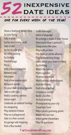52 Free or Cheap Date Ideas - A whole YEAR of weekly date night ideas! Build your marriage without breaking the bank -- You'll never run out of things to do with this list of creative and inexpensive date ideas! Marriage Relationship, Marriage Advice, Love And Marriage, Happy Marriage, Marriage Romance, Relationship Building, Relationship Crafts, Relationship Bucket List, Communication Relationship