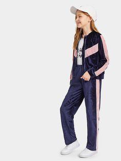 de805465934 Girls Zip Up Contrast Panel Velvet Jacket   Pants Set  clothes  girls   fashion