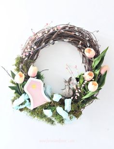 DIY Colourful Spring Wreath with a Fairy Garden Theme. A pretty fairy door and fairy adorns this fairy garden in a wreath. Wreath Crafts, Diy Wreath, Wreath Making, Spring Home Decor, Spring Crafts, Easter Crafts, Crafts For Kids, Crown Crafts, Indoor Wreath