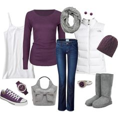 """""""Purple Madness"""" by katiejeanne on Polyvore -Not usually a fan of purple, but I love it with the light grey n crisp white... But, I'd def wear the ugg boots; Never been a fan of converse at all & I& quite frankly they'd ruin this and ANY other outfit! (:"""
