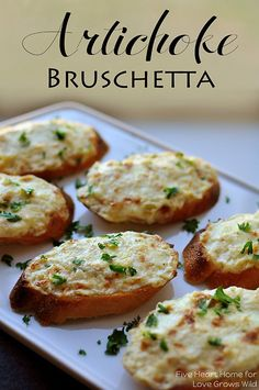 Artichoke Bruschetta or Hot Artichoke Dip an easy appetizer or dip depending on how fancy the occasion is Five Heart Home for Love Grows Wild Yummy Appetizers, Appetizers For Party, Appetizer Recipes, Light Appetizers, Appetizer Ideas, Quiche Recipes, Dip Recipes, Potato Recipes, Vegetable Recipes