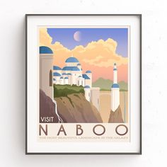 Naboo illustration. Star Wars planet. Retro travel poster. Phantom menace. Chewie wall art. Padme Amidala. Anakin Skywalker. Galactic Empire by TheSeventhArtShop on Etsy https://www.etsy.com/uk/listing/513024351/naboo-illustration-star-wars-planet