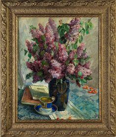 BLUMENSTILLLEBEN Öl auf Leinwand. 79 x 62,5 cm. Links unten signiert. Ein Strauß hellvioletter Fliederblüten in einer blauen Vase auf karierter Tischdecke...