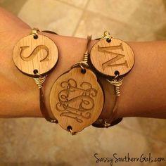 Wood monogram bangle wire bracelet w/ engraved wood monogram