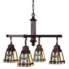 In The Tradition Of The Prairie School, Organic Objects Were Interpreted Into Geometric Forms. In This Four Light Chandelier, Meyda Tiffany Uses Colorful Interlocking Blocks Of Willow Green, Chili Red And Azure Blue To Form Stylized Wheat Stalks On A Beige Cream Background. The Handcrafted Stained Glass Shades Are Suspended From Mahogany Bronze Hand Finished Hardware.