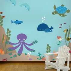 """Oh, to be a little fishy in this sea! Our """"Under the Sea"""" stencil kit will have your little one swimming with delight! In these fun and fanciful waters reside an octopus, shark, whales, stingray, fish of all sorts, mermaid, mer-king, lobster, crab, sea plants, coral and so much more! Perfect for your baby nursery, kid's bedroom, playroom or bathroom. This do-it-yourself ocean wall mural kit contains over 45 stencils and is fun and easy to do. There is absolutely no artistic skill required…"""