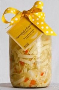 Chicken noodle soup in a jar...So cute, and such a good gesture for a sick friend!