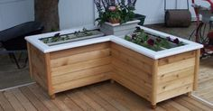 decks with planter box bench   Planter Boxes with Bench seating   Deck    Pinterest   Decks, Deck benches and Planters