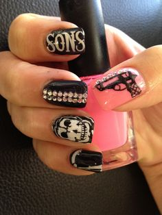 Sons of Anarchy nails by @misztexas (Lili Pham) ORIGINALLL. Please credit it to @misztexas. Thanks