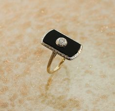 Antique Ring Antique14k Two-Tone Black Onyx and Diamond Ring