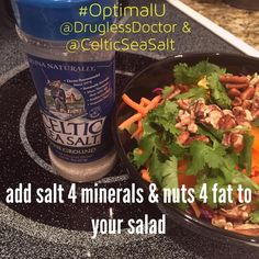 If you are feeling stressed, your body requires more minerals, and it's important to keep your adrenals healthy, too. My #OptimalU for today is on page 288 and says: Healthy fat from nuts on your salad and #CelticSeaSalt add mineral spark plugs to your system. #health #nutrition #minerals #stress