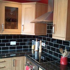 Black Gloss Kitchen Wall Tiles
