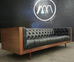 Mid Century Modern Tufted Milo Baughman Style Walnut Encased sofa