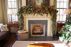Beautiful Christmas mantel.
