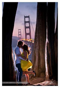 San Francisco Engagement Shoot Golden Gate Bridge awesome light! Picture perfect portrait