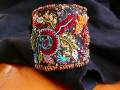 Luxe Leather Cuff with Embroidered Trim in Rich by bellabeadstudio, $135.00