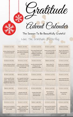 Gratitude Advent Calendar - this is a great starting point, but God created the Universe and the earth, so we really should be thanking Him! Christmas Countdown, Christmas And New Year, All Things Christmas, Christmas 2019, Christmas Holidays, Xmas, Nordic Christmas, Modern Christmas, Christmas Stockings