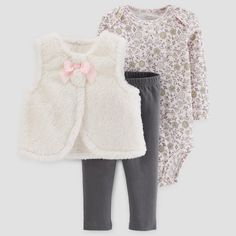 Baby Girls  3pc Sherpa Vest Set - Just One You™ Made by Carter s® Cream Pink df597c867