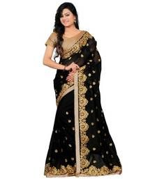 Buy Black embroidered dupion silk saree with blouse party-wear-saree online