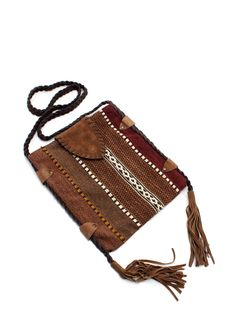 tasseled woven satchel $23.95