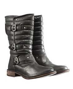 best women's motorcycle boots | UGG Women Tatum Leather Buckles Motorcycle Boots Black 1001833 Blk ...