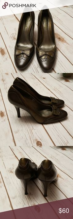 Donald J Pliner Heels Pewter and Olive color Sports I Que technology for comfort  The style is called Barbara Cute bow on front Small scratch almost not noticeable on side see picture Also small skuff on heel Donald J. Pliner Shoes Heels