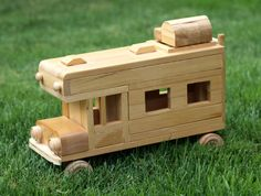 Eco-friendly Wooden Children's Toy Car Camper Reclaimed Wood Organic Natural Unpainted Metal-free Preschool Montessori
