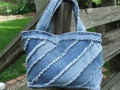 Large denim tote bag made mostly from por TatteredSisters en Etsy, $25.00
