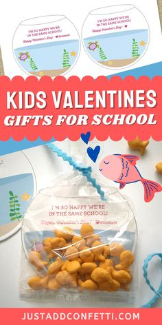 "Looking for creative and unique kids valentines for school and Valentine's Day classroom parties? I've got you covered with this ""School of Fish"" fishbowl valentine card! These DIY valentines are so easy to assemble. The printable is available in my Etsy shop. Just slide the valentine card into a clear bag and add Goldfish Crackers or Swedish Fish candies for an adorable Valentine treat! Be sure to head to justaddconfetti.com for even more cute and simple kids valentines."